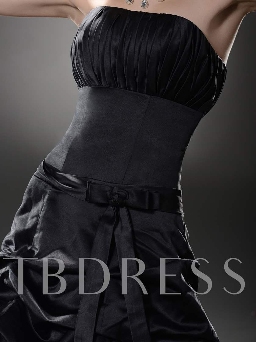 Ruched A-Line Strapless Pick-ups Sashes/Ribbons Long Prom Dress