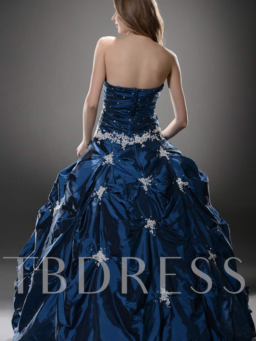 Sweetheart Pick-ups Appliques Beading Long Ball Gown/Quinceanera Dress