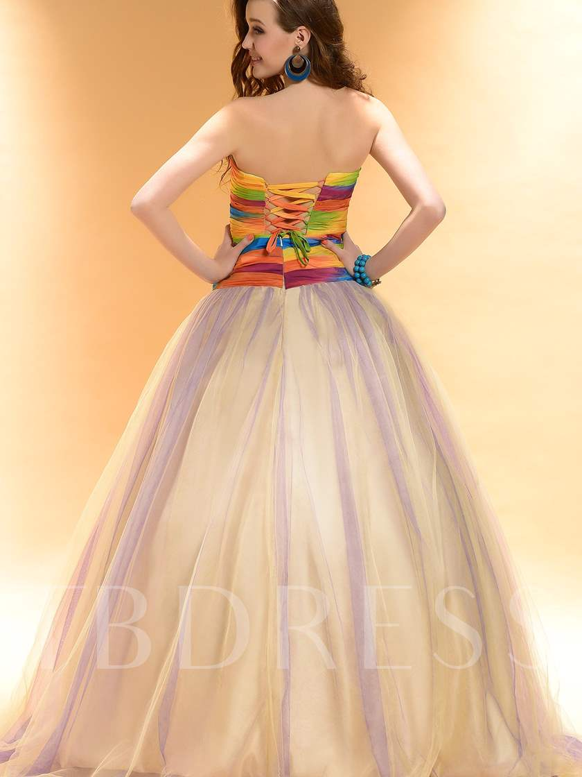 Color Ball Gown Strapless Flowers Long Prom/Quinceanera Dress