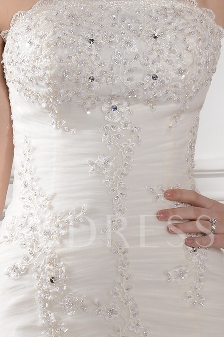 Mermaid Strapless Appliques Beading Wedding Dress