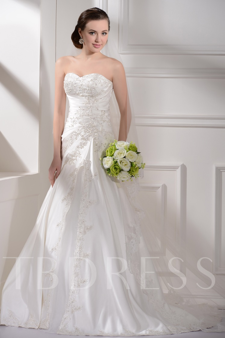 Appliques Strapless A-Line Wedding Dress