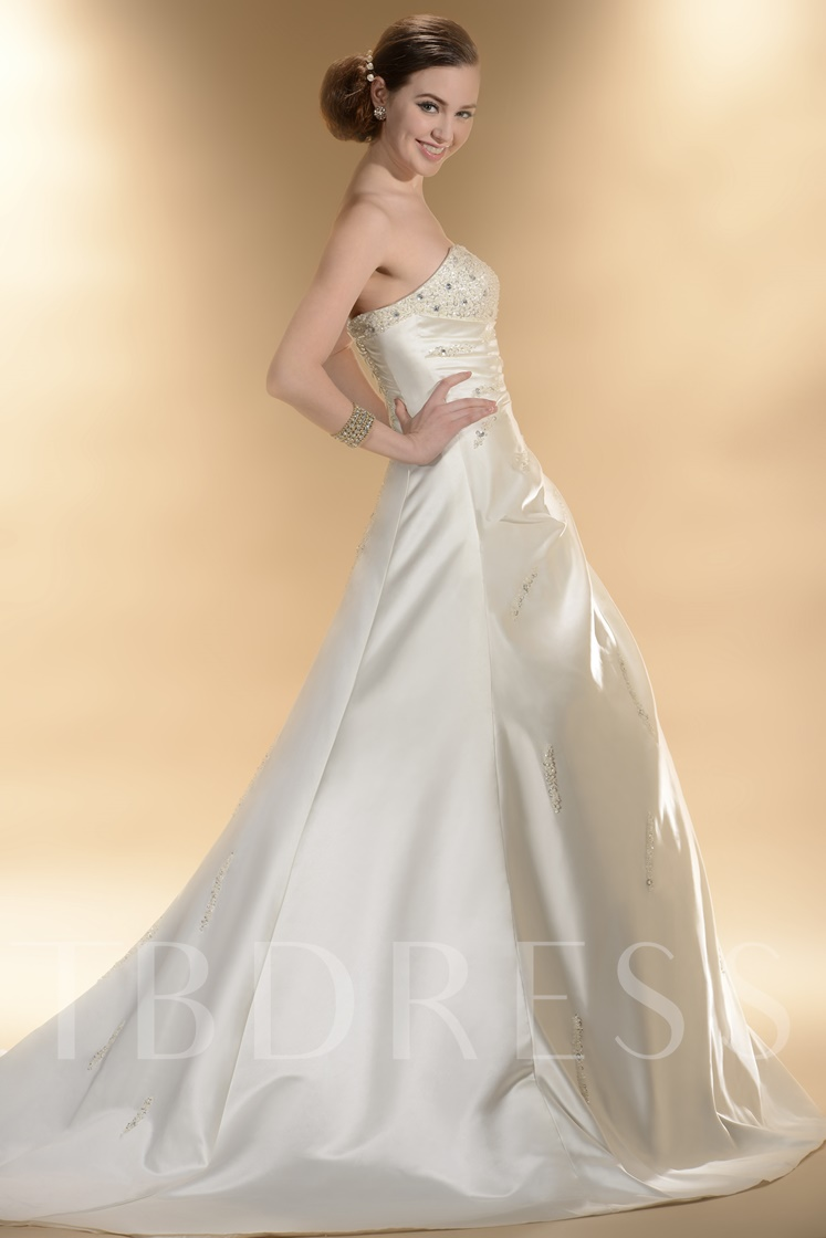 A-Line Strapless Beading Chapel Train Wedding Dress