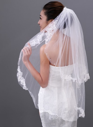 Lace Edge Elbow Length Wedding Veil