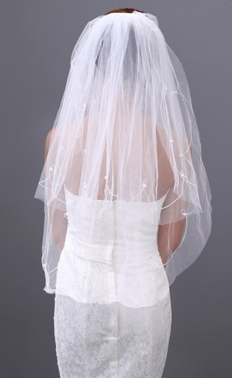 Wonderful Elbow Length with Beading Wedding Veil