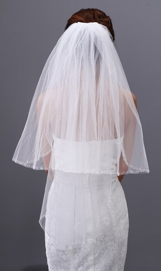 Beadings Elbow Length Wedding Veil