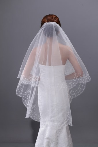 Fingertip Tulle Two-Layer Wedding Veil