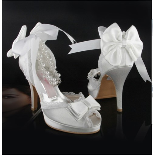 Cloth Upper Wedding/Party Stiletto Shoes with White Bows