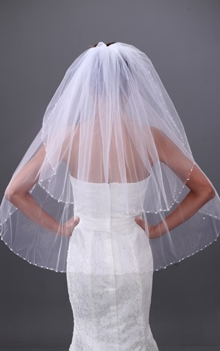 2-layer Fingertip Wedding Veil With Beading