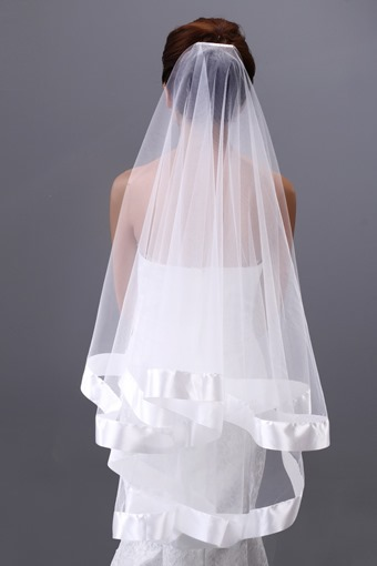 Fingertip Satin Edge Wedding Veil