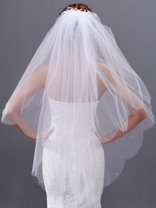 Beadings 2-layer Fingertip Wedding Veil