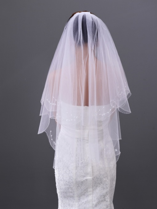 Single Yarn Two Layers Elbow Wedding Veil