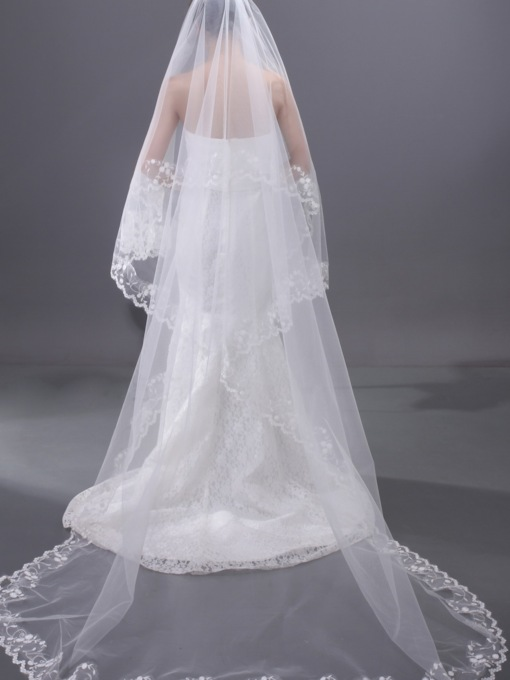 Chapel Length Lace Edge Wedding Veil