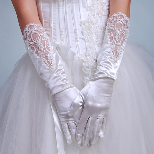 Half Length Beadings Bridal Gloves