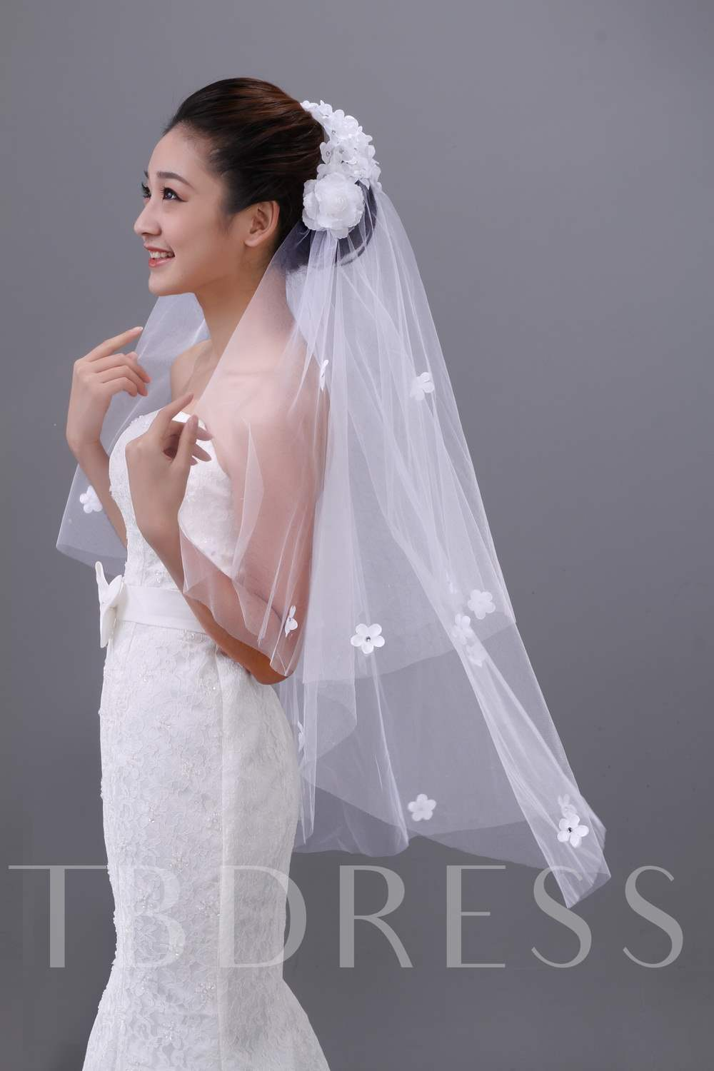 Flowers Top Fingertip Length Wedding Veil