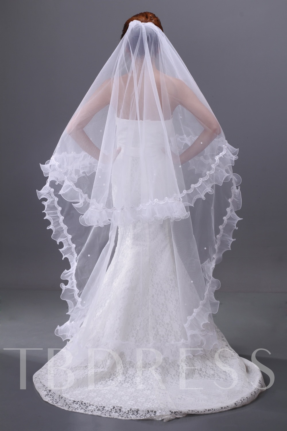 Beads Single-wire Ankle-length Wedding Veil