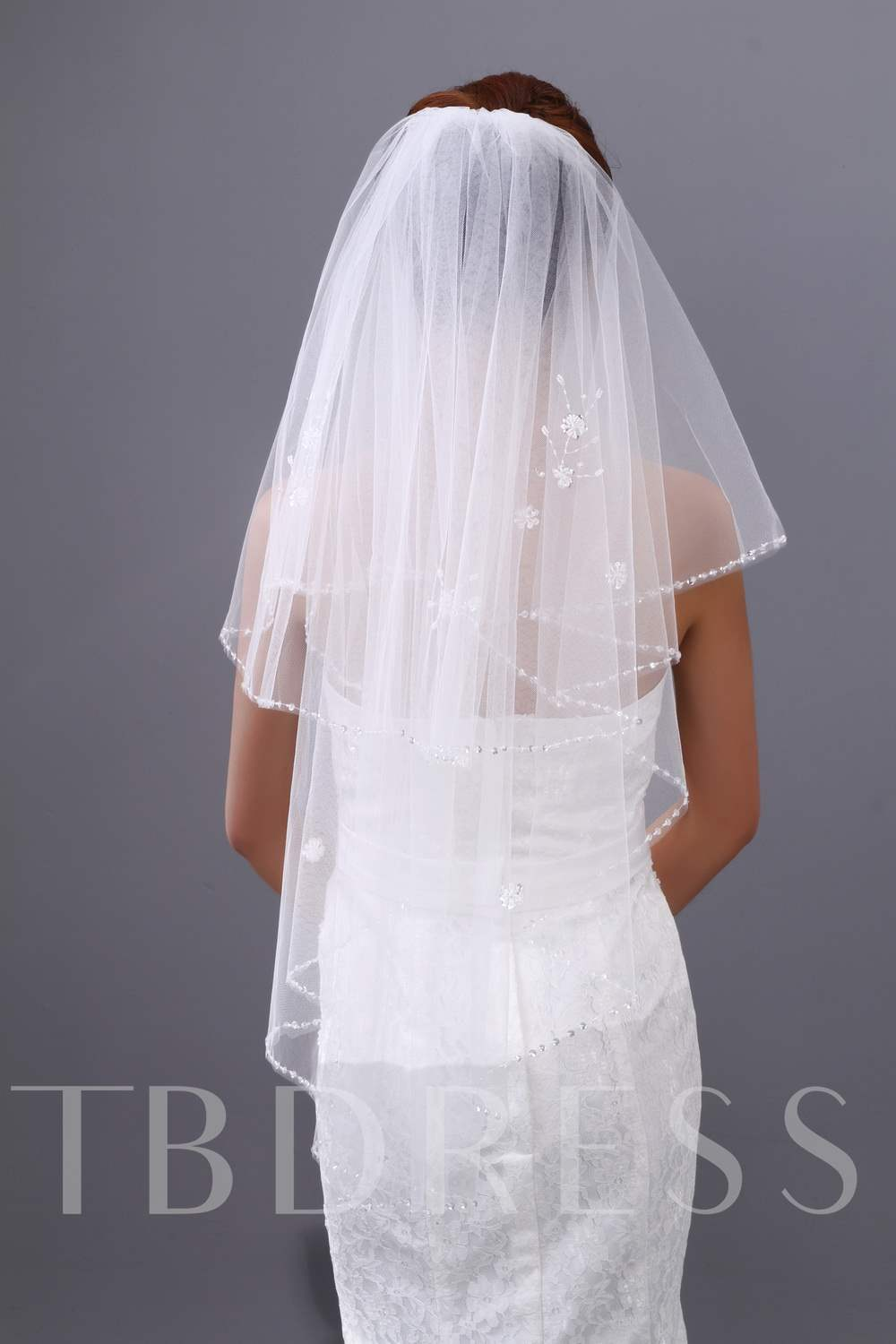 Wedding Veil Two-tier Elbow Veils Beading Edge