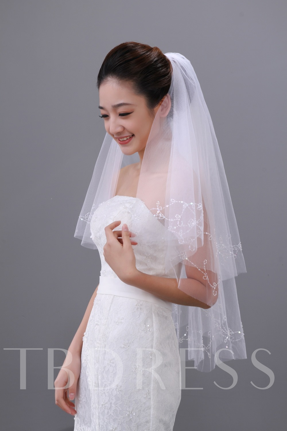 Fingertip Length Beading Wedding Veil