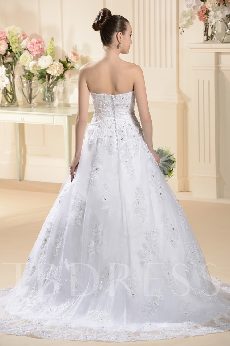 A-line/Princess Strapless Sweep/brush Appliques Wedding Dress
