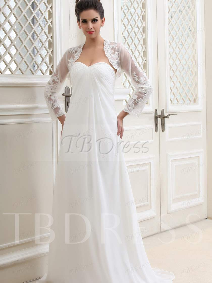 Long Sleeves White Lace Wedding Jacket