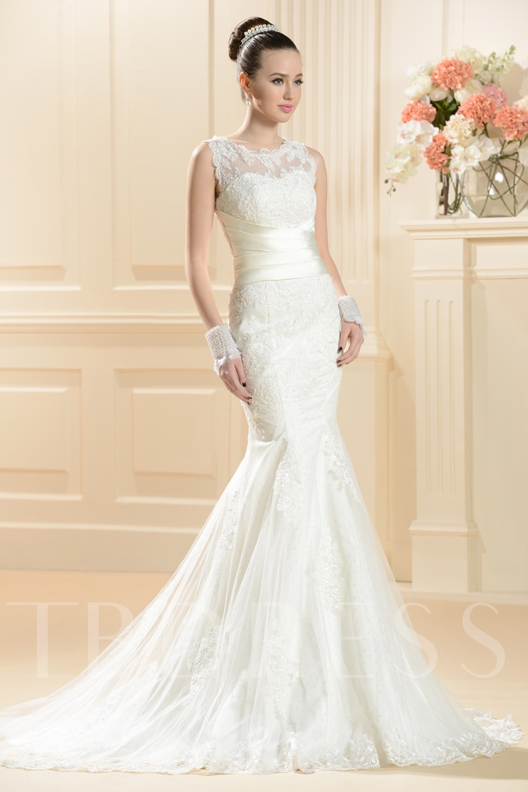 Trumpet/Mermaid Chapel Train Lace Wedding Dress