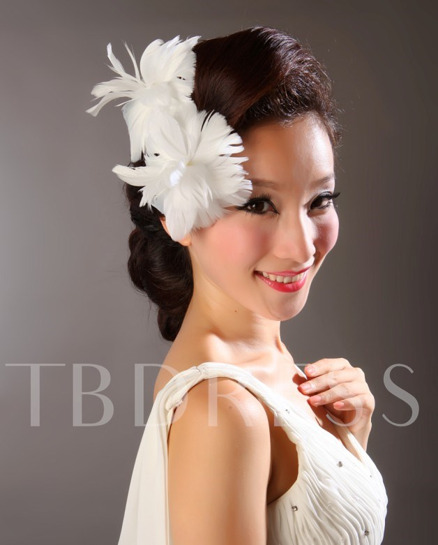 White Feather Wedding Bridal Hats