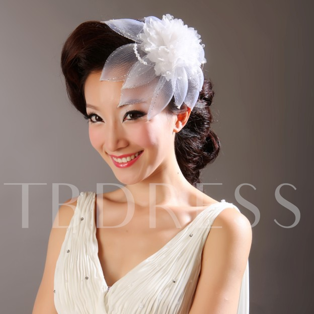 White Net/Feather Drill Wedding Bridal Hats