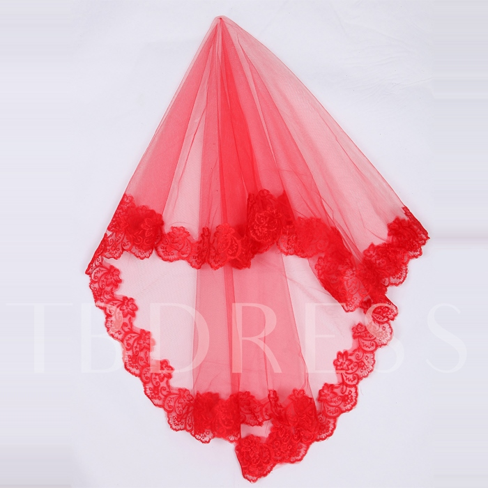 Red Lace Elbow Bridal Veil
