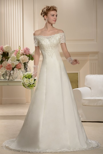 A-line Floor-length Chapel Bateau Short-Sleeves Wedding Dress