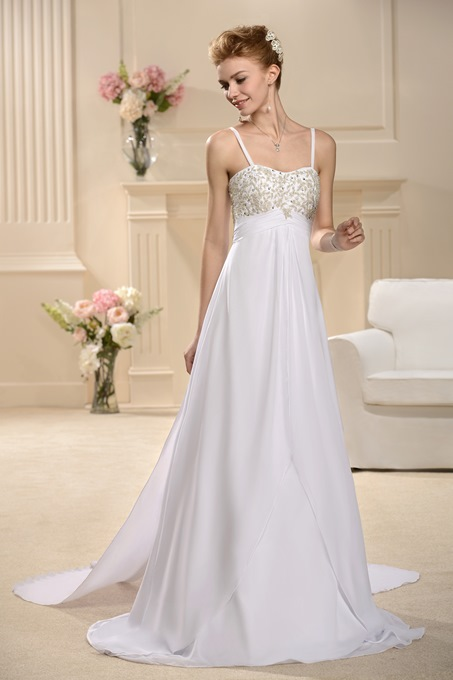 Empire Waist Beading Spaghetti Straps Wedding Dress
