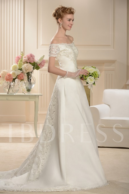Off the Shoulder Beading Short Sleeves Wedding Dress