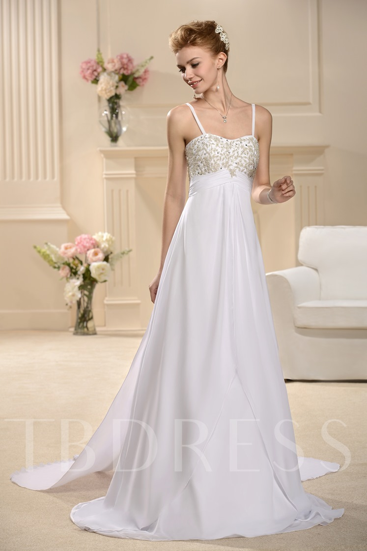 caa99fc0b0e2 Empire Waist Beading Spaghetti Straps Wedding Dress - Tbdress.com