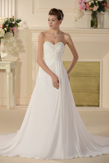 Empire Strapless Sleeveless Court Train Beaded Wedding Dress