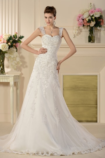 A-line Removable Straps Chapel Appliques Wedding Dress