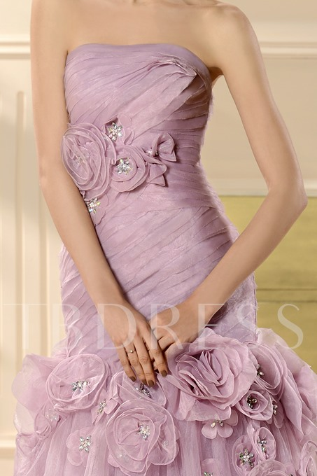 A-Line Strapless Flowers Color Wedding Dress
