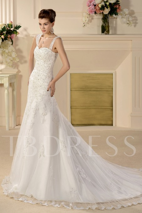 Straps Chapel Train Appliques Wedding Dress