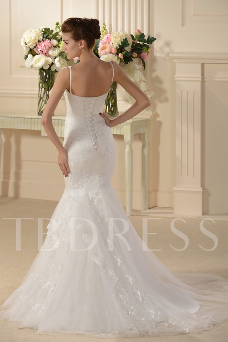 Trumpet/Mermaid Spaghetti Straps Embroidery Wedding Dress