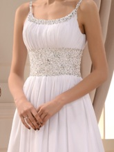 Beading Spaghetti Straps Beach Wedding Dress