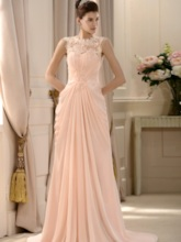Straps Lace Beading Draped Mother of the Bride Dress