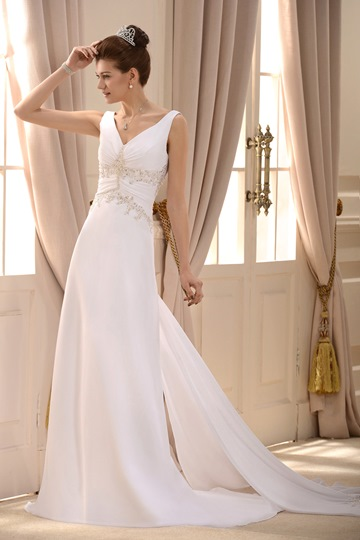 A-Line/Princess V-neck Floor-length Watteau Wedding Dress