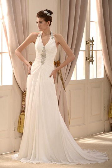 Sheath/Column V-neck Floor-length Court Beaded Wedding Dress