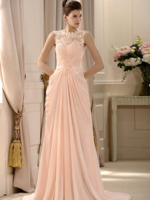 Lace Beading Draped Long Bridesmaid Dress