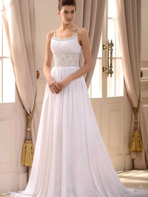 Empire Spaghetti Straps Sleeveless Court Train Wedding Dress