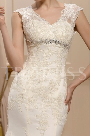 Trumpet/Mermaid Straps Floor-Length Beading Wedding Dress