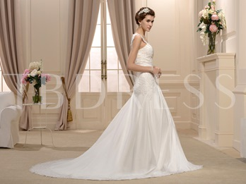 A-Line Straps Appliques Floor-length Chapel Train New Bridal Dress
