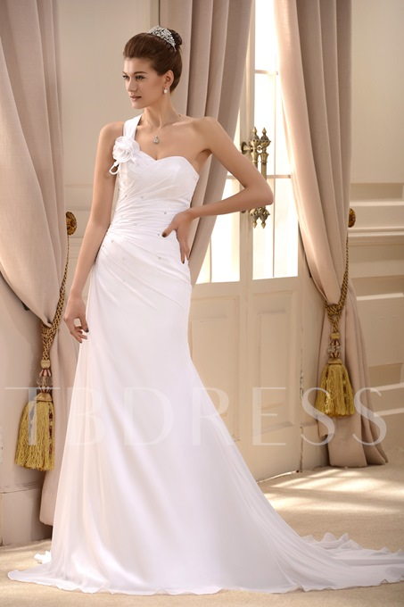 A-Line One-Shoulder Pleats Pleats Beach Wedding Dress