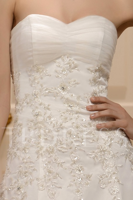 Empire Strapless Appliques Sweeping Train Wedding Dress