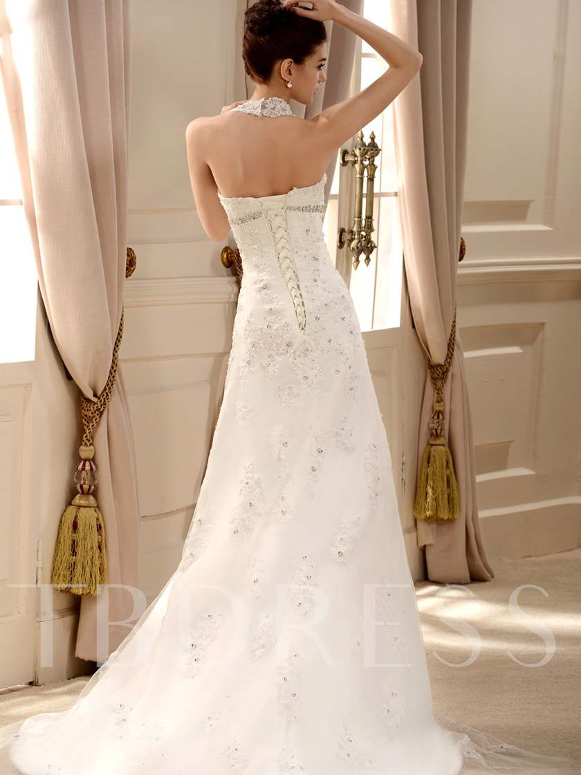 Halter Appliques Beading Wedding Dress