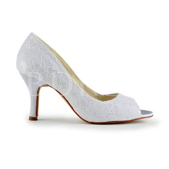 Satin Stiletto Heels Peep-toe Lace Wedding Shoes
