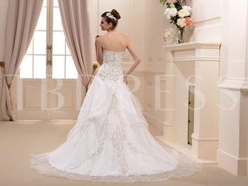 A-Line/Princess Strapless Cathedral Satin Bridal Gown