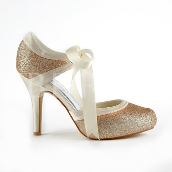 New Champagne Stiletto Heels Closed-toe Wedding Shoes